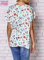 Ecru koszula damska z kwiatowym nadrukiem