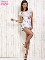 Ecru kwiatowy t-shirt z koronką przy rękawach                                  zdj.                                  4