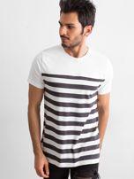 Ecru męski t-shirt w paski                                  zdj.                                  1