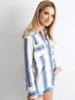 Ecru-niebieska koszula w pasy                                  zdj.                                  5
