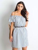 Ecru-niebieska sukienka Marinero                                  zdj.                                  1