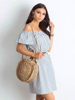 Ecru-niebieska sukienka Marinero                                  zdj.                                  3