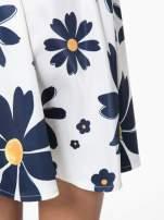 Ecru rozkloszowana spódnica skater w kwiaty                                                                          zdj.                                                                         7