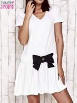 Ecru sukienka dresowa z kokardą z przodu                                  zdj.                                  1