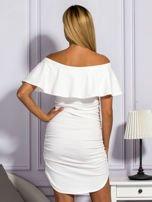 Ecru sukienka hiszpanka z marszczeniami                                  zdj.                                  2