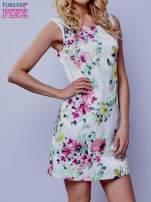 Ecru sukienka w zielone kwiaty                                  zdj.                                  1