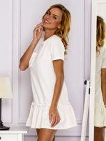 Ecru sukienka z falbaną                                  zdj.                                  5