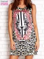 Ecru sukienka z motywem pantery                                  zdj.                                  1