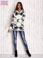 Brązowy sweter long hair z ornamentowym motywem                                                                          zdj.                                                                         7