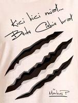 Ecru t-shirt damski KICI KICI MIAŁ by Markus P                                  zdj.                                  2