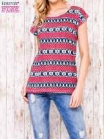 Ecru t-shirt z czerwono-niebieskim nadrukiem                                  zdj.                                  1