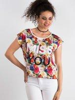 Ecru t-shirt z kwiatowym przodem z dżetami                                                                          zdj.                                                                         1