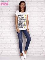 Ecru t-shirt z motywem dni tygodnia emoji weekday                                  zdj.                                  2
