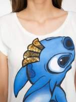 Ecru t-shirt z nadrukiem Stich                                  zdj.                                  8