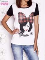 Ecru t-shirt z nadrukiem dziewczyny i tiulowym tyłem