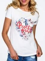 Ecru t-shirt z nadrukiem kwiatowym PRETTY GIRL                                                                          zdj.                                                                         5