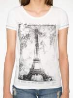 Ecru t-shirt z nadrukiem wieży Eiffla                                                                          zdj.                                                                         7