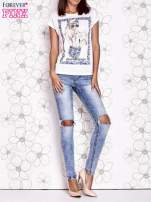 Ecru t-shirt z napisem BOHEMIAN GIRL                                  zdj.                                  6