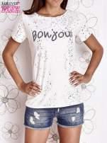 Ecru t-shirt z napisem BONJOUR