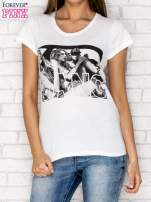 Ecru t-shirt z napisem GANG                                  zdj.                                  1