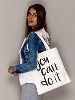 Ecru torba materiałowa YOU CAN DO IT                                  zdj.                                  1