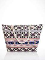 Ecru torba plażowa w azteckie wzory                                                                          zdj.                                                                         1