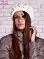 Ecru wełniany beret z błyszczącą aplikacją                                  zdj.                                  1