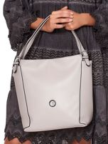 Elegancka jasnoszara torba z eko skóry z logo                                  zdj.                                  2