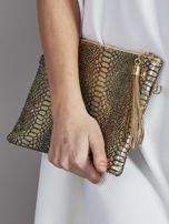 Elegancka kopertówka z motywem wężowej skóry złota                                  zdj.                                  5