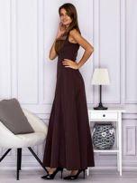 Elegancka sukienka wieczorowa maxi brązowa                                  zdj.                                  5