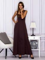 Elegancka sukienka wieczorowa maxi brązowa                                  zdj.                                  4