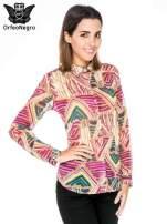 Fioletowa koszula w kolorowe zygzaki                                                                          zdj.                                                                         1