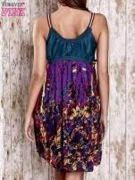 Fioletowa kwiatowa sukienka z kolorowymi troczkami                                  zdj.                                  2