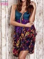 Fioletowa kwiatowa sukienka z kolorowymi troczkami                                  zdj.                                  1