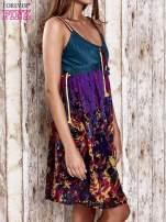 Czarna kwiatowa sukienka z kolorowymi troczkami                                                                          zdj.                                                                         3