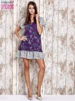 Fioletowa sukienka baby doll w kwiatki                                  zdj.                                  4