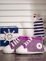 Fioletowe ocieplane buciki dziecięce w wzór jodełki                                  zdj.                                  2