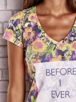 Fioletowy t-shirt w kwiaty z napisem BEFORE I EVER MET YOU                                  zdj.                                  5