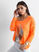 Fluo pomarańczowy cienki sweter z nadrukiem                                  zdj.                                  3