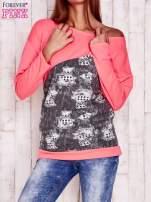 Fluoróżowa bluza oversize z szarą wstawką                                  zdj.                                  1