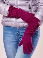 Fuksjowe długie rękawiczki z marszczonym ściągaczem                                   zdj.                                  2