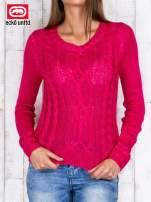 Fuksjowy sweter ze srebrną nicią                                  zdj.                                  1