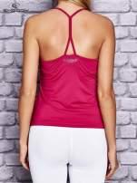 Fuksjowy top sportowy z siateczką i ramiączkami w kształcie litery T na plecach