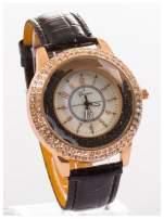 GENEVA Czarny damski zegarek na pasku ze skóry lakierowanej                                  zdj.                                  3