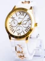 GENEVA Modny biały damski zegarek ze złotym łańcuszkiem na pasku