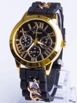 GENEVA Modny czarny damski zegarek ze złotym łańcuszkiem na pasku