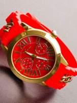 GENEVA Modny czerwony damski zegarek ze złotym łańcuszkiem na pasku                                  zdj.                                  1