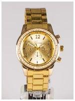 GENEVA Złoty zegarek damski z cyrkoniami na bransolecie