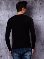 Gładka bluzka męska czarna z długim rękawem                                  zdj.                                  3