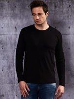 Gładka czarna bluzka męska z długim rękawem                                  zdj.                                  2